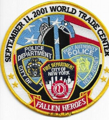 """9-11-01 Tribute - W.T.C.  Fallen Heroes - Yellow  (5"""" round size)  fire patch"""