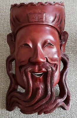 Old Chinese Signed Hand Carved Rosewood Wall Hanging Of Elder W/bovine Teeth