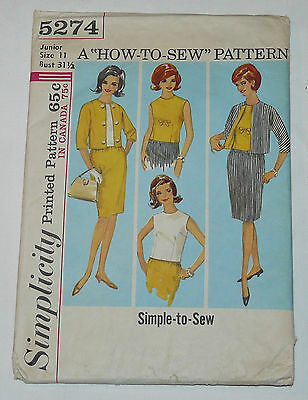 Vintage 1960s SIMPLICITY MISSES' SUIT & BLOUSE PATTERN #5274 sz 11/32 sewing