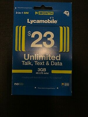LYCAMOBILE Preloaded sim Card $23x3 Months with 4GB data and Unlimited Calls