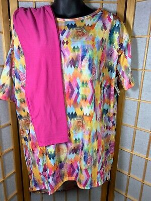 7db29c253bf5f Lularoe Outfit Lot Of 2- Rose Digital Photo Irma Size XS+ OS Solid Pink  Leggings