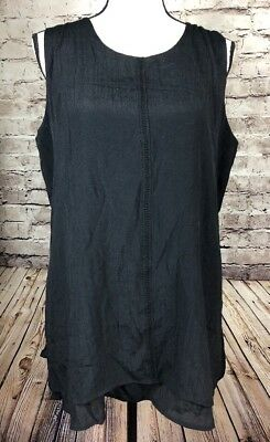 Fever Double Layer Sleeveless Blouse Tank Top Black Womens Size L