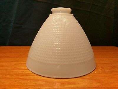 """Vintage Milk Glass Lamp Shade Cone Waffle Torchiere 2 1/4"""" Fitter 1 5/8"""" inside"""