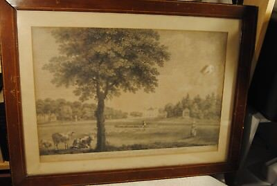 """VERY RARE William WOOLLETT 1800s PRINT """"A VIEW OF COOMBANK"""" ANTIQUE KG"""