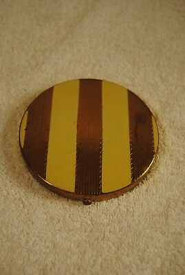Vintage Rex Fifth Avenue Brass & Enamal Round Art Deco Cosmetic Compact