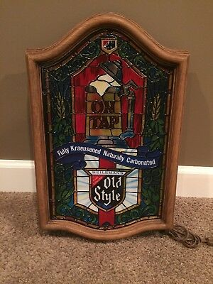 Vintage Old Style Beer On Tap Lighted Sign Stained Glass NEW UNUSED