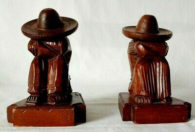 Vintage Mexican Carved Wooden Candle Holders Sleeping Man & Woman Sombrero