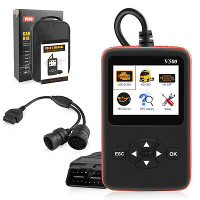 V500 Car & Heavy Duty Truck 2 in1 OBD2 Diagnose Scan Tool Scanner Engine DPF Oil