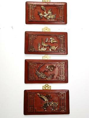 """4/Set Authentic Antique Chinese Wood  Wall Panels  10""""W(#OO118)"""
