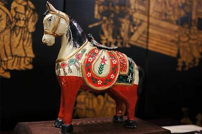 Vintage Hand Carved Painted Chinese Wooden Horse Statue Sculpture Wood Carving
