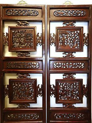 One Pair Antique Chinese Bedframe,  Wood Panels For Wall Deco 19c  (bb105,6)
