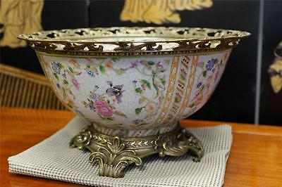 Oriental Chinese Crackled Porcelain Round Bowl Antiqued Brass Base