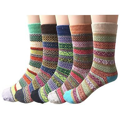 5Pairs Women Wool Cashmere Thick Sock Soft Winter Warm Thermal Ankle-High Socks