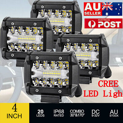 4x 4 inch 200W CREE LED Light Bar SPOT FLOOD Offroad Work Driving Fog Lamp AU