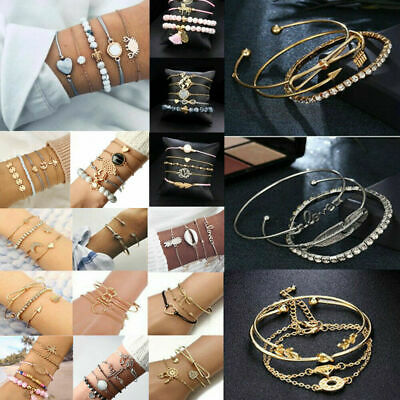 Fashion Women Jewelry Set Rope Natural Stones Crystal Chain Alloy Bracelets Gift