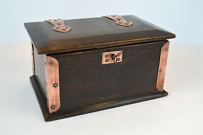 Original Arts and Crafts copper bound oak box with strap hinges lock and key