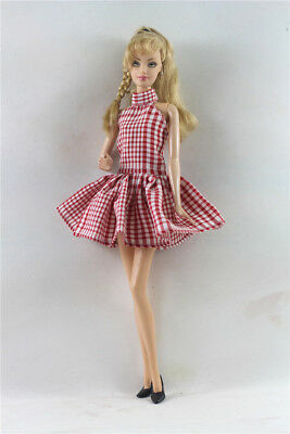 Handmade Red lattice  Doll Dress Suit for 11.5in. Doll Party Daily Clothes