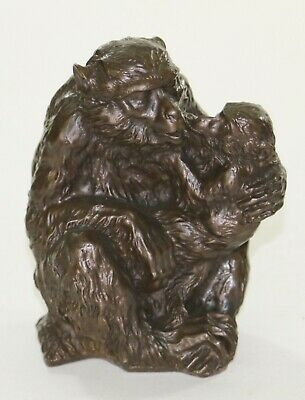 French Artist CANOVA 100% Bronze Sculpture Baboon and Baby - Perfect Condition