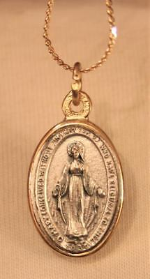Handsome Two-Tone Mother of God Immaculate Mary Oval Goldtone Medal Necklace