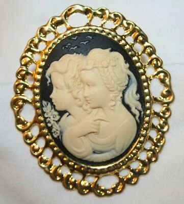 Lovely Swirl Rimmed Navy Blue & Cream Two Girls Cameo Brooch Pin