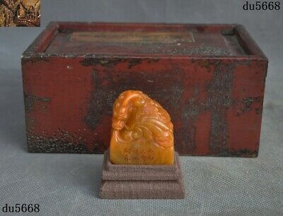 China Tianhuang Shoushan Stone Old Wood Box Hand carved Dragon Seal stamp signet