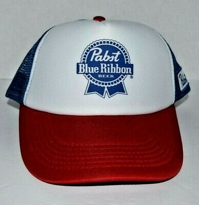 NEW Pabst Blue Ribbon PBR Trucker Hat Mesh Back Snapback Ball Cap USA Beer Blue