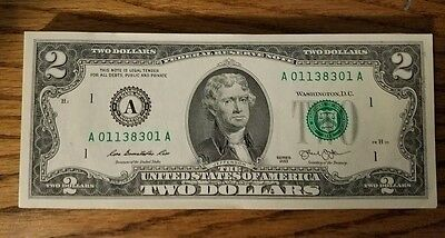 RARE CRISP 2013 UNCIRCULATED $2 BILL TWO DOLLAR NOTE SEQUENTIAL ORDER A Boston