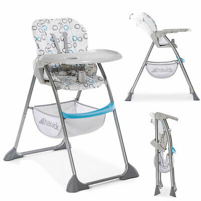 New Hauck Sit N Fold Compact Baby Adjustable Highchair Circles Blue
