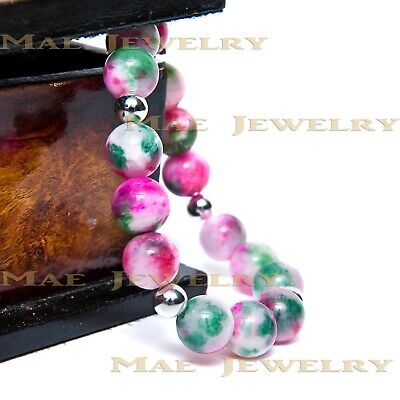12mm Pink/Green Persian Jades RoundStone Beadss925 Sterling Silver Bracelets..