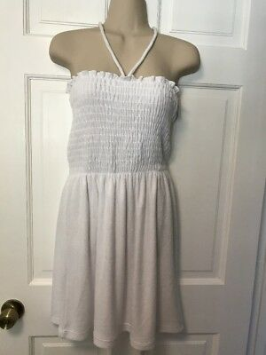 7222b2ed8e7b6 NWT $120 Juicy Couture White Smocked Terry Halter Tube Coverup Dress Size M
