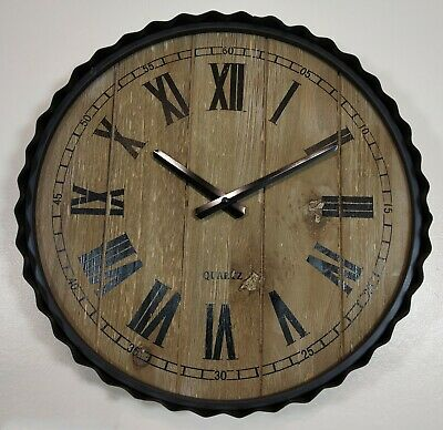 Large Vintage Wooden matel Wall Clock Rustic Retro Kitchen Home AntiqueDeco 40cm