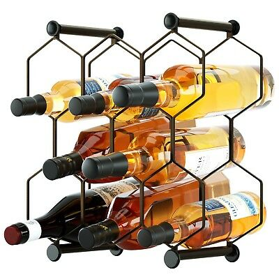 8 Bottle Wine Rack Display Stand Table Holder Home Decor Metal Freestanding NEW