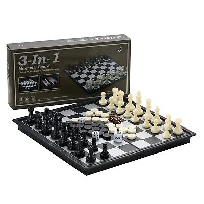 Magnetic Travel Chess Set Folding Board Game Portable Checkers Backgammon Play