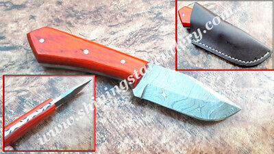 Custom Hand Made Damascus Steel Hunting Skinner Knife With Leather Sheath