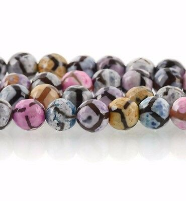 1 Strand Round FACETED PASTEL Colors Agate Beads, 8mm Natural Gemstones gag0112