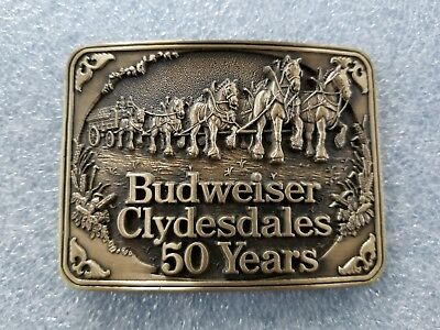 Vintage 1983 Budweiser Clydesdales 50 Years Belt Buckle 1st Ed ADM Solid Brass