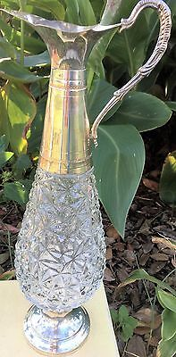 F.lli Beccaro-Acqui Crystal & Silver Plate Claret Pitcher Decanter~Made In Italy