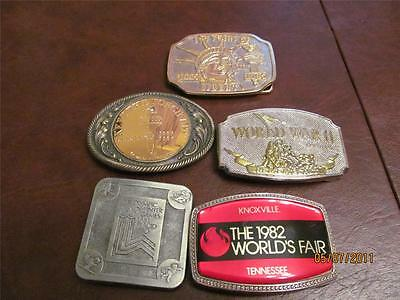 Statue of Liberty, WWII, Olympics and 1982 Worlds Fair Belt Buckles