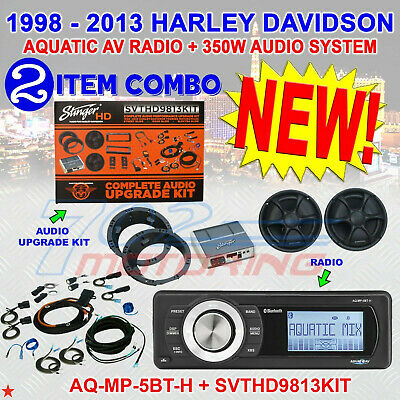 Stinger Svthd9813Kit + Aq-Mp-5Bt-H Speaker / Amp For 98-2013 Harley Motorcycles