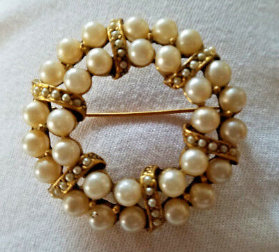 Vintage Pearl Wreath Circle Brooch Double Row with Pearls Antique Goldtone