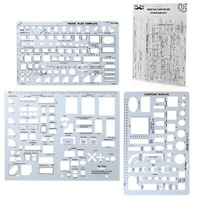 Architectural Templates House Plan Interior Design Drafting Ruler Tools Geometry