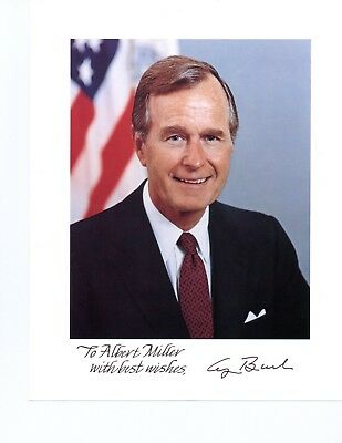 George H. W. Bush Handsigned And Inscribed Color Photo By 41St U.s. President
