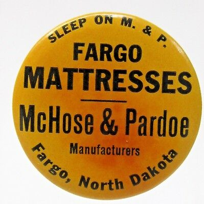 c.1920 FARGO MATTRESSES McHose & Pardee NORTH DAKOTA sharpener hone stone *