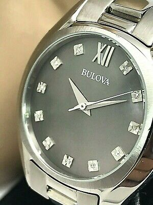 Bulova Women's 96P158 Watch Diamond Accents Silver Tone S.Steel Gray MOP Dial