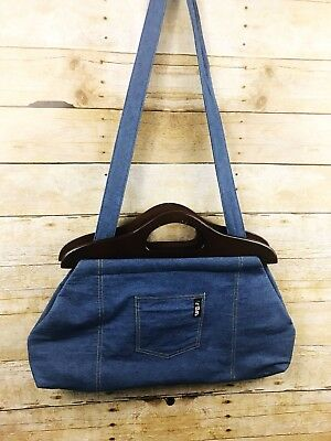 ArtBin  Denim Wood Large Craft Tote Bag Wooden Handles Knitting Crochet Sewing