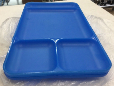 """Two Tupperware Large Divided Dining Trays 15"""" x 9""""  Bright Blue Brand New"""