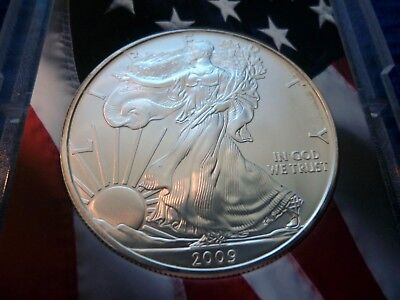 ~> 2009 American Silver Eagle 1 troy oz .999 Fine Silver in Flag Holder