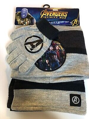 4c59af1c77fdb1 New Boys Marvel Avengers Gray Knit Hat Glove & Scarf Set Beanie Cap One Size