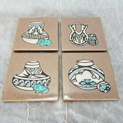 Southwestern Coaster Trivet Wall Art CLEO TEISSEDRE 4 Hand Painted Tile Set