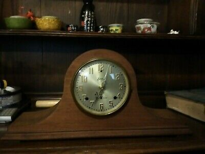 Antique Sessions Mantle Clock ~ Refinished ??? very nice wood. battery movement
